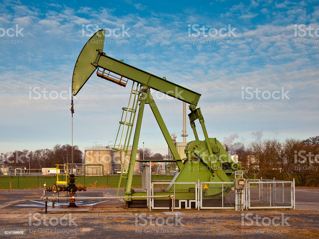 Green Oil Pump Jack stock photo
