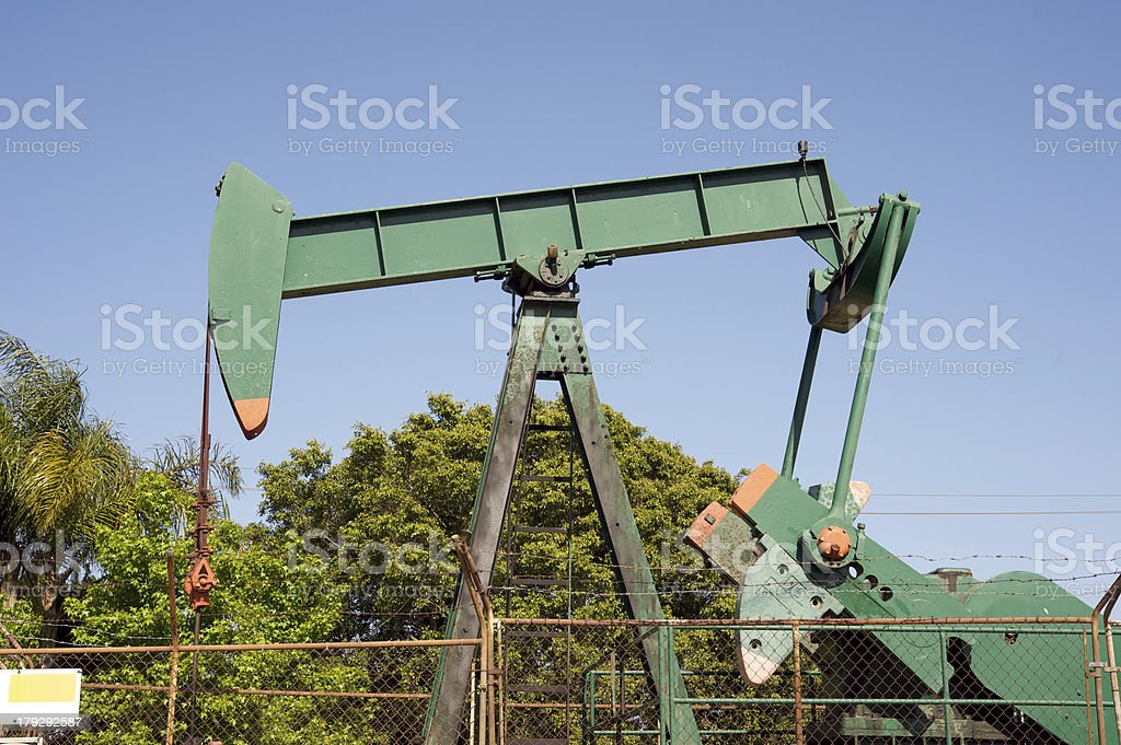 Green oil rig royalty-free stock photo