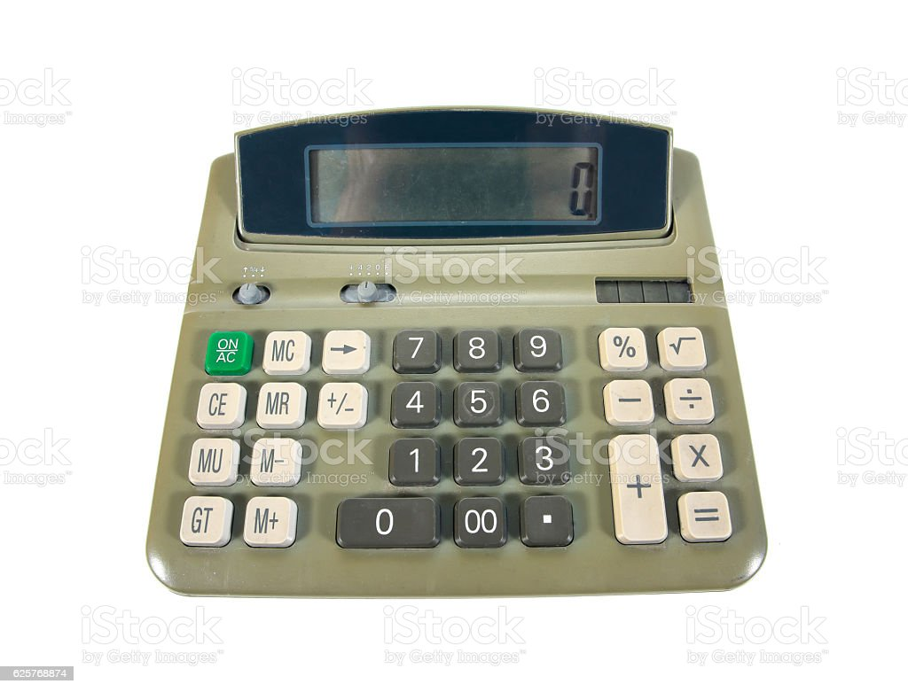 Green old calculator for doing office related work isolated stock photo