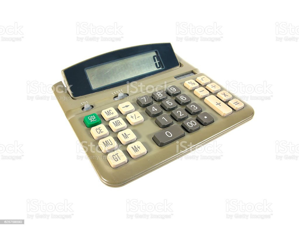 Green old calculator isolated on white background.Old calculator stock photo