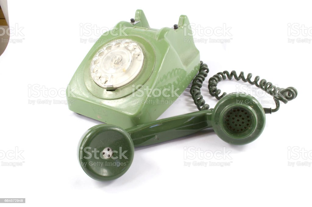 Green Old Fashioned Dial Telephone stock photo
