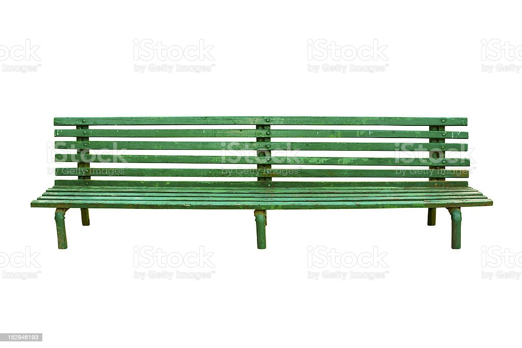 Green old park bench isolated on white royalty-free stock photo