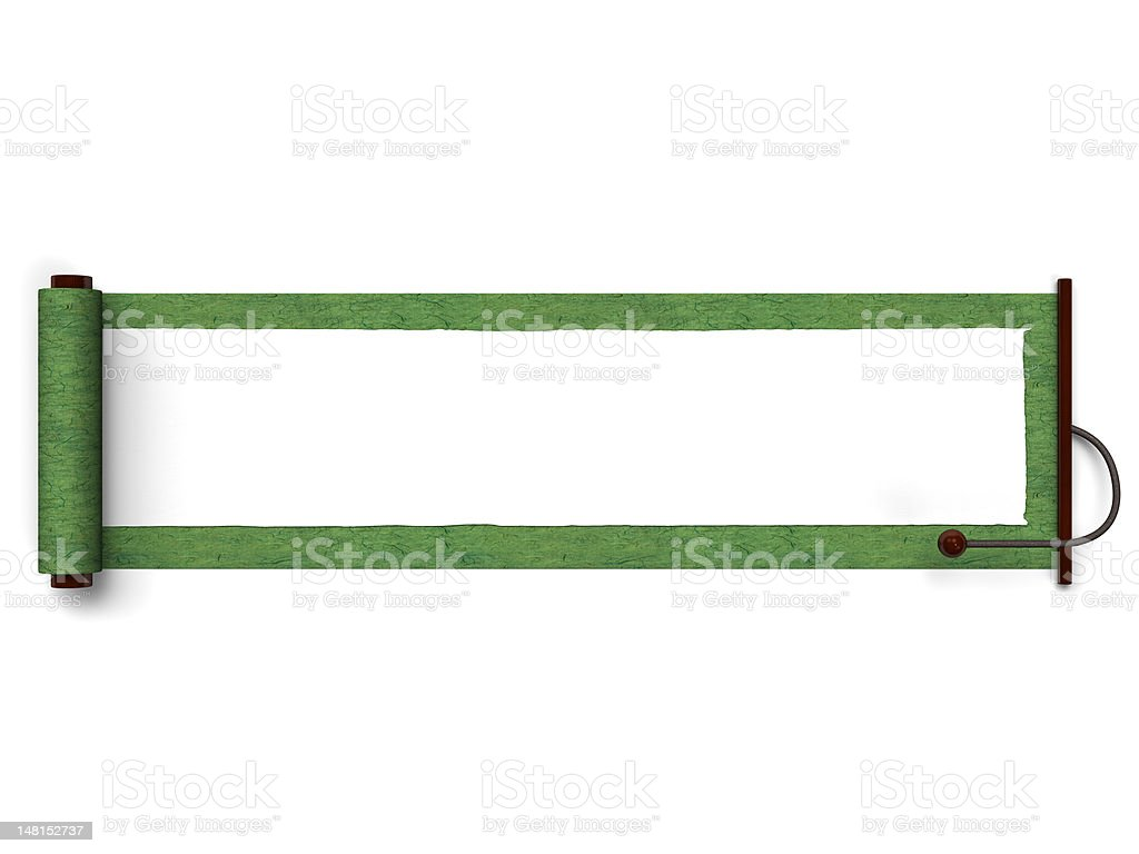 Green Old Scroll Top View vector art illustration