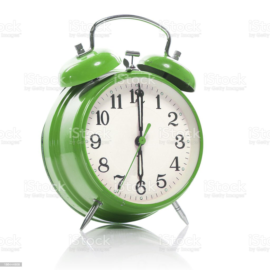 green old style alarm clock isolated on white royalty-free stock photo