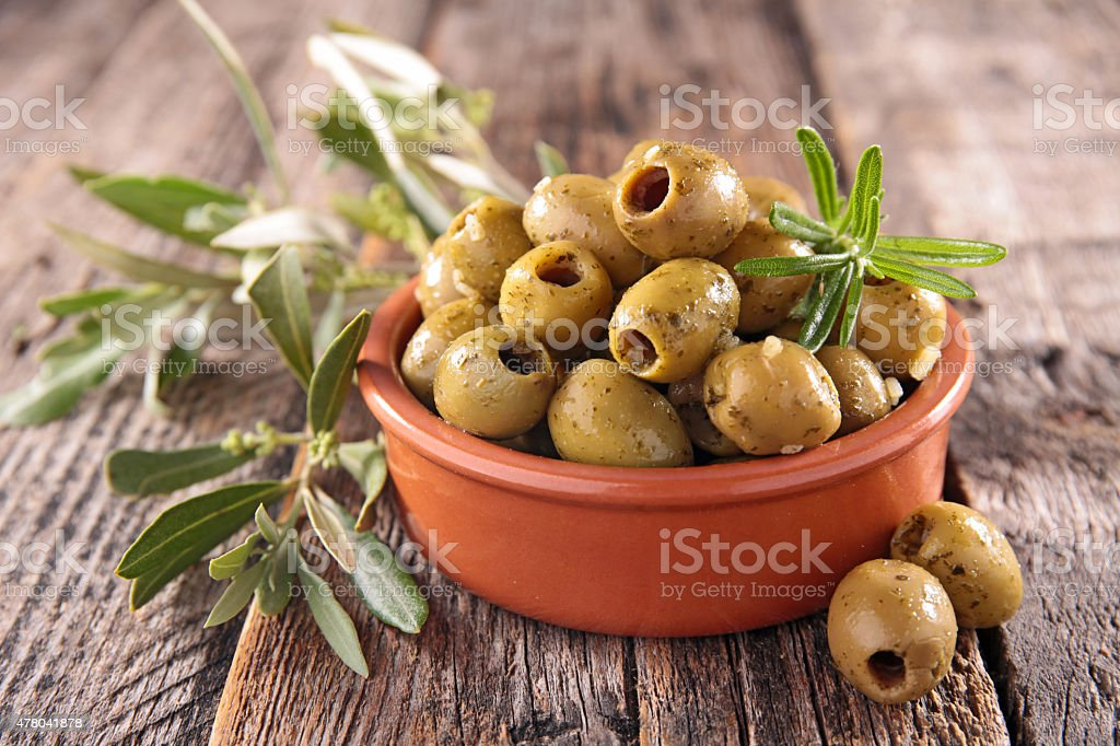 green olive and leaf stock photo