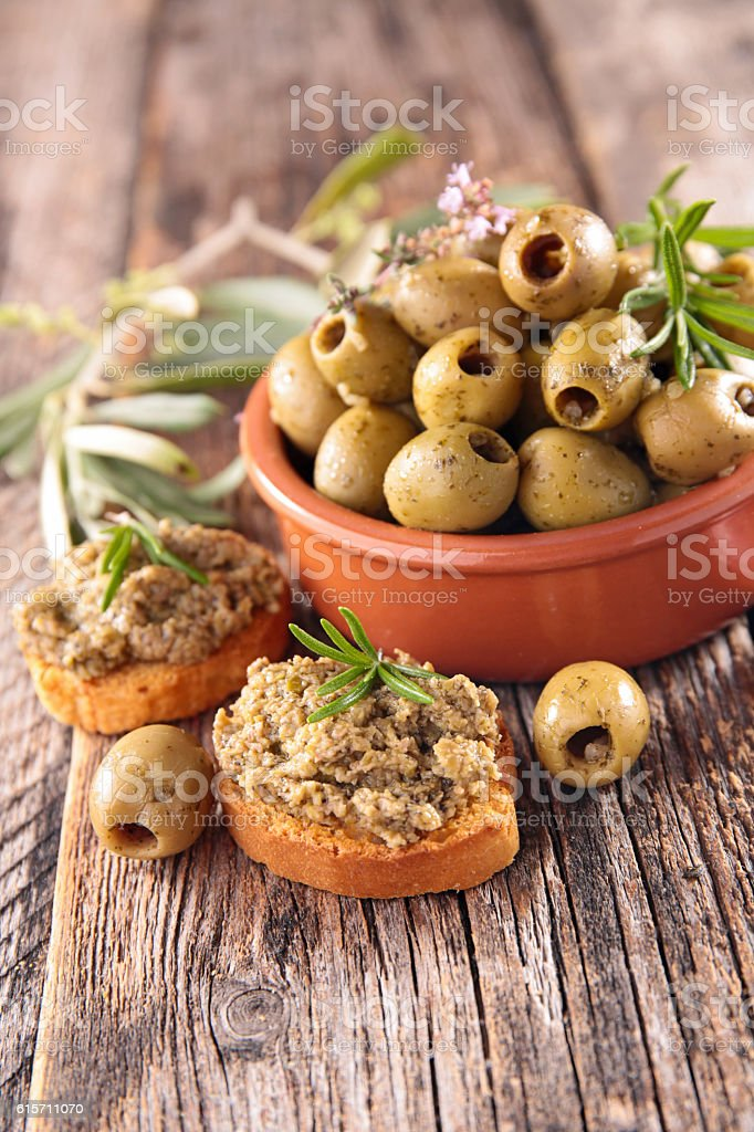 green olive and tapenade stock photo
