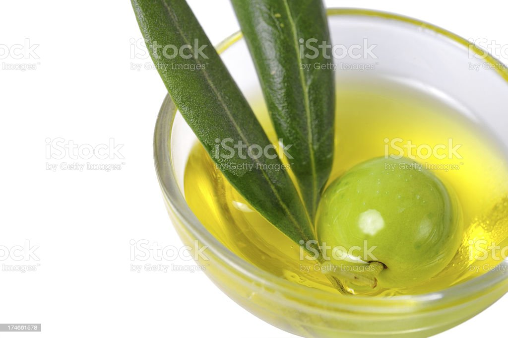Green olive in oil royalty-free stock photo