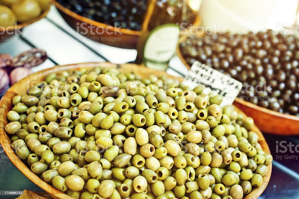 Green olives for sale royalty-free stock photo