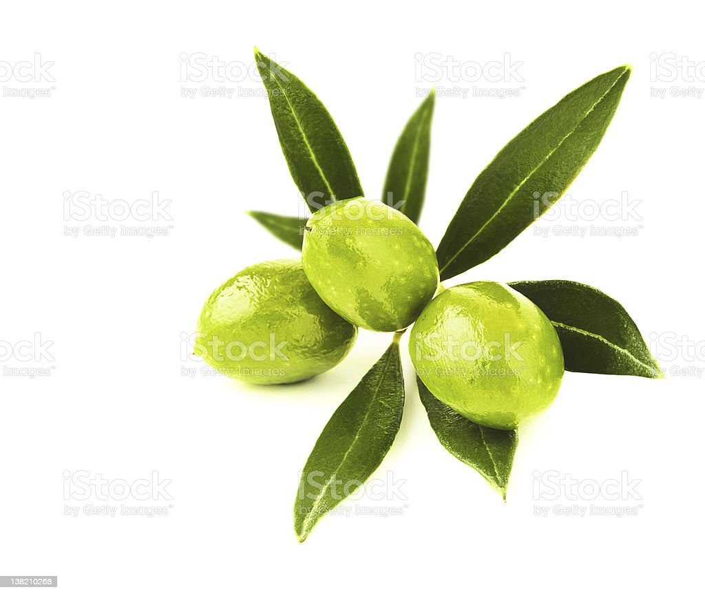 Green olives isolated on a white background stock photo
