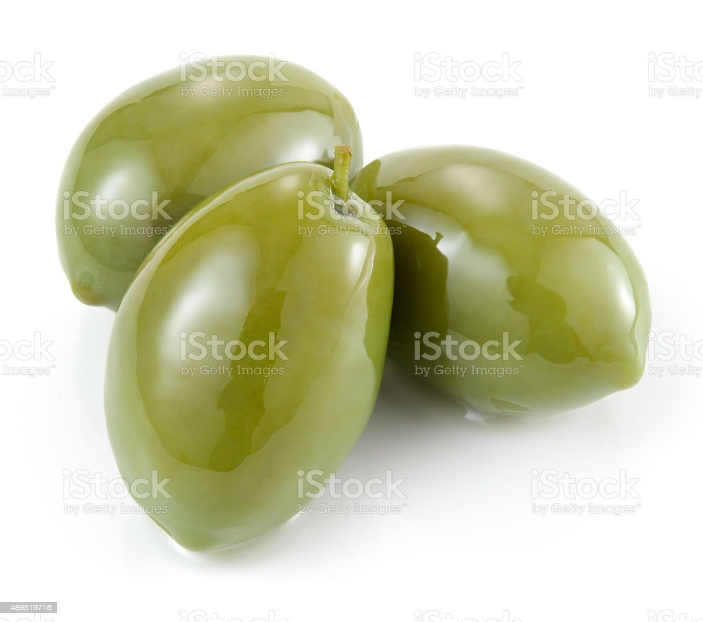 Green olives isolated on white stock photo