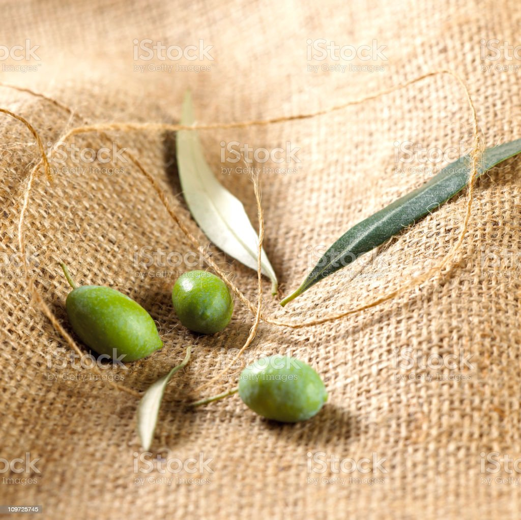 Green olives  on sack royalty-free stock photo