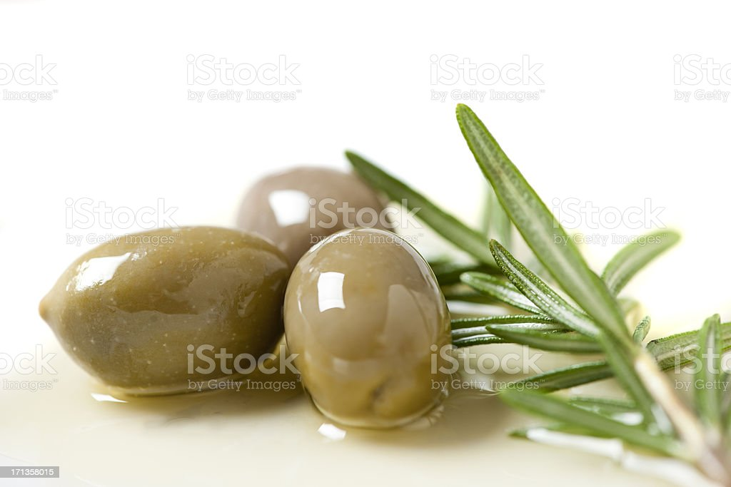 Green Olives Rosemary and Olive Oils royalty-free stock photo