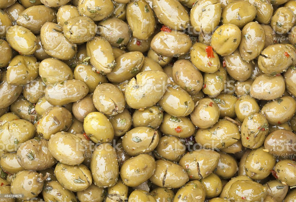 Green Olives With Spices royalty-free stock photo
