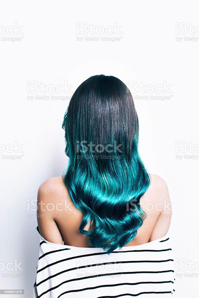 Green ombre hair stock photo