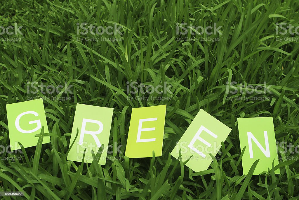 Green on Business Cards in grass royalty-free stock photo
