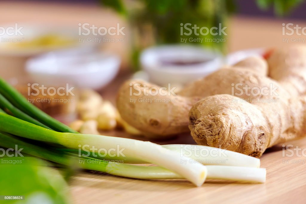 Green Onions and Ginger with Other Ingredients to Cook Chinese stock photo