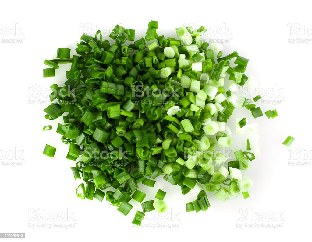Green onions on a white background stock photo