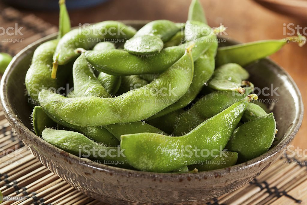 Green Organic Edamame with sea salt stock photo
