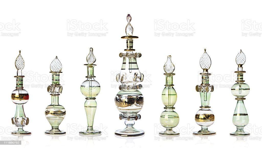Green oriental perfume bottles royalty-free stock photo