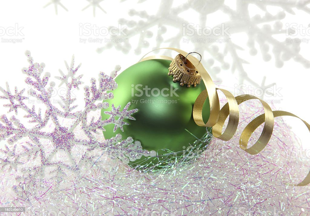 Green Ornament and Snowflakes stock photo