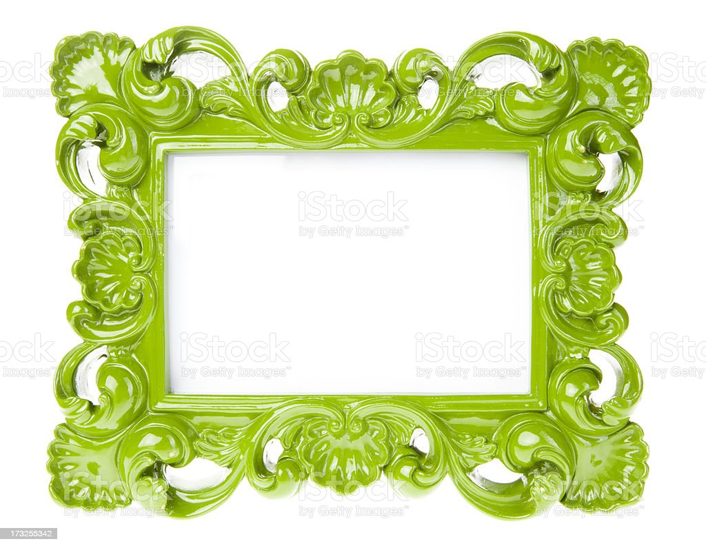 Green Ornate Picture Frame stock photo