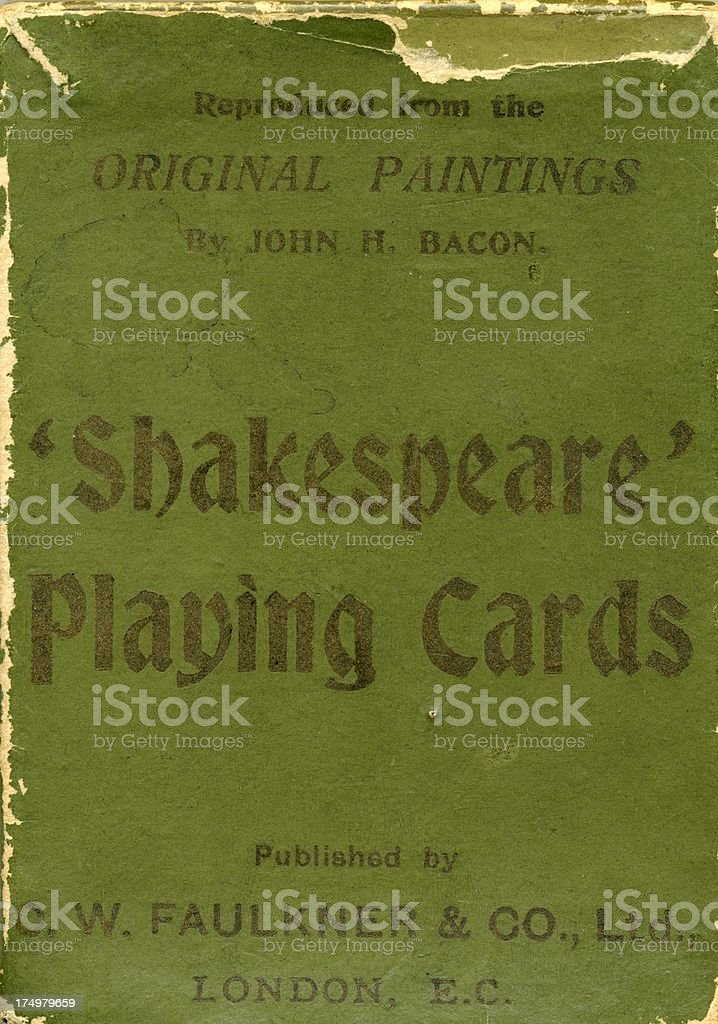 Green outer case for Dondorf 1895 Shakespeare antique playing cards stock photo