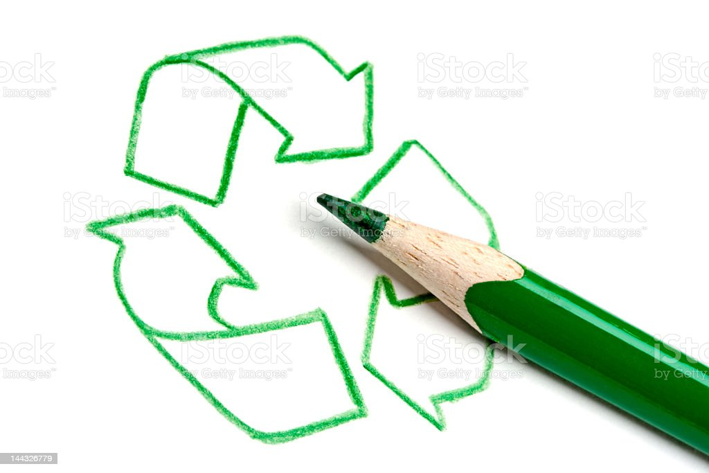 Green outline of recycling symbol with a green crayon royalty-free stock photo