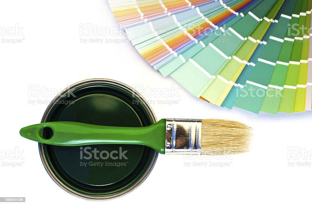 Green paint and swatch. royalty-free stock photo