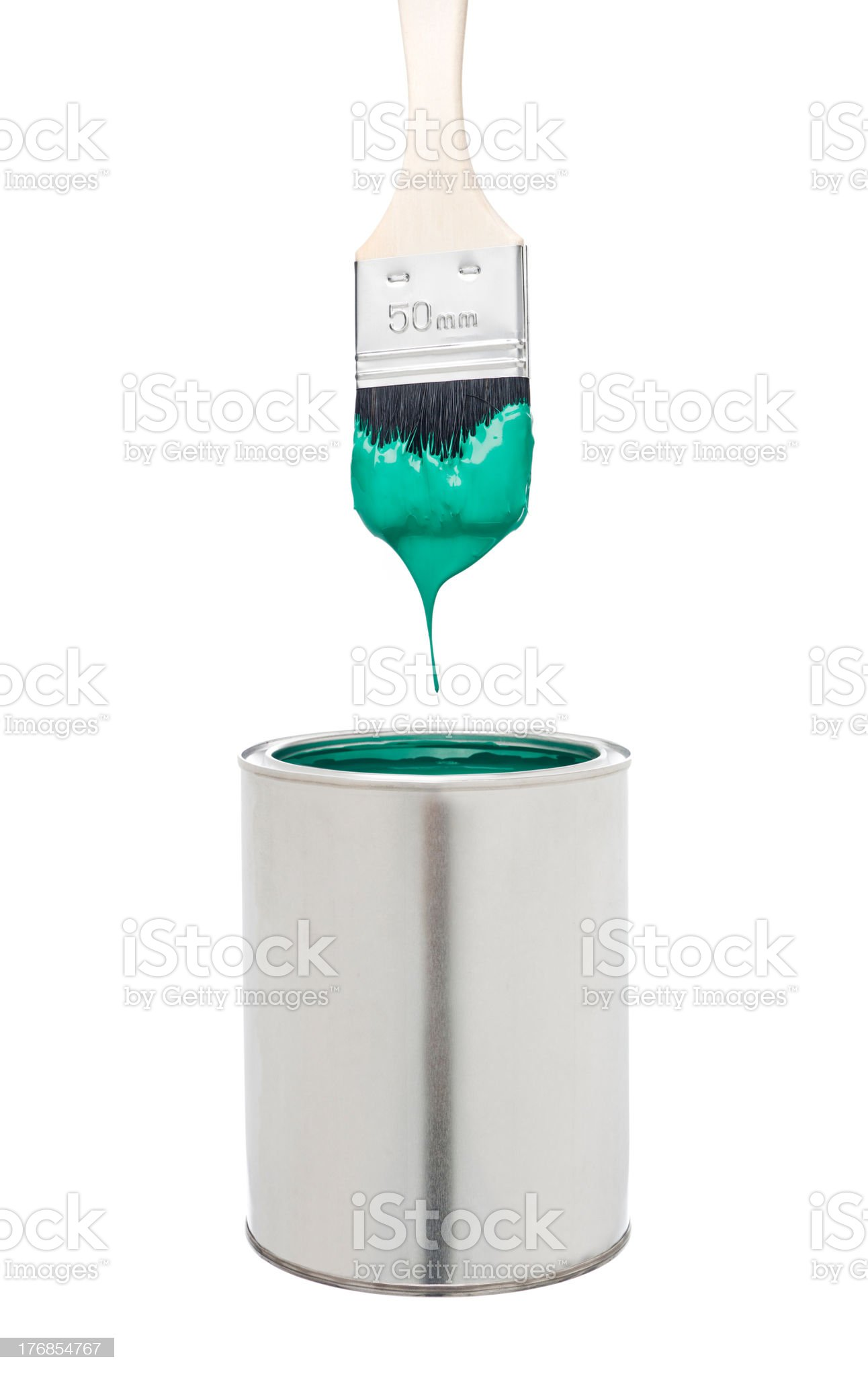 Green Paint Brush and Can royalty-free stock photo
