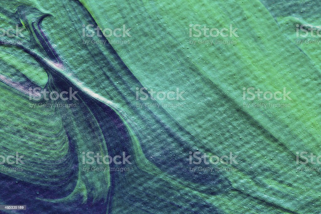 Green paint on canvas stock photo