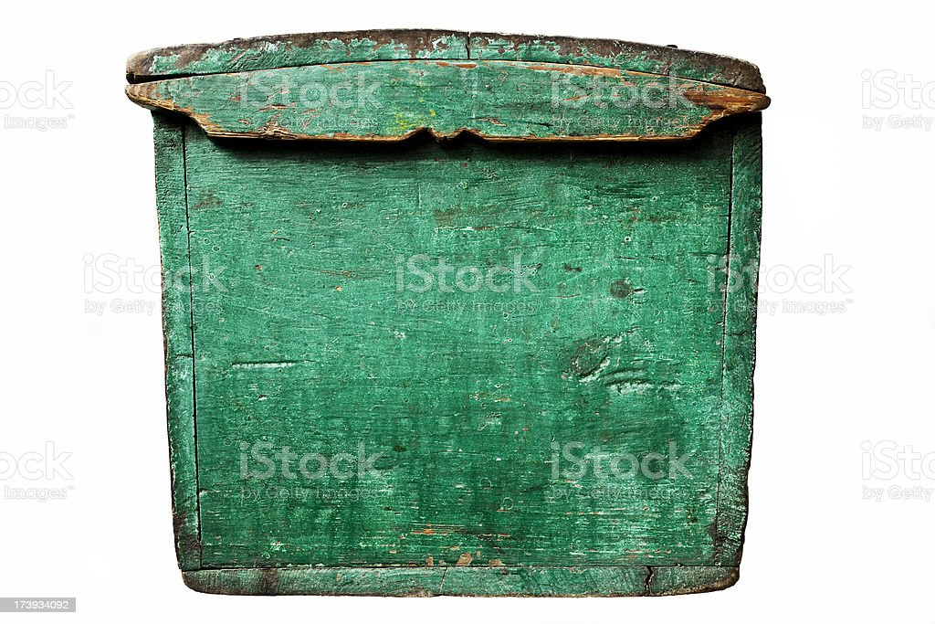 Green painted lid of an antique wooden chest. royalty-free stock photo