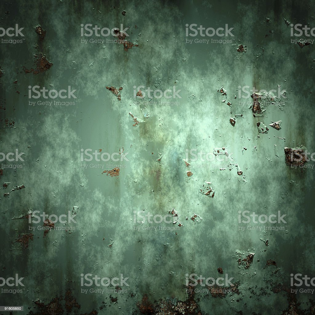 Green painted metal with rust traces royalty-free stock photo