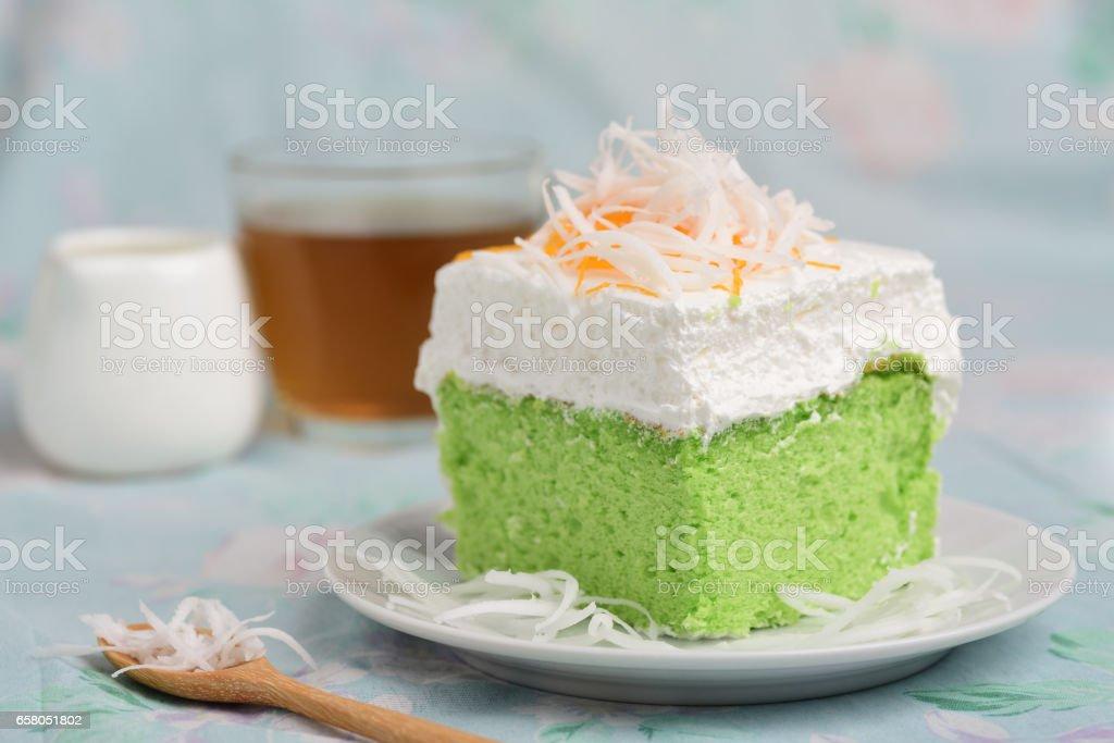 Green pandan cake stock photo