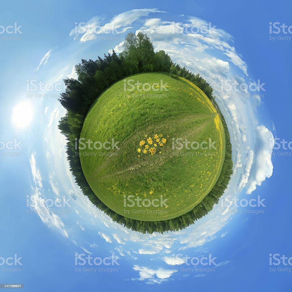 Green panorama globe stock photo
