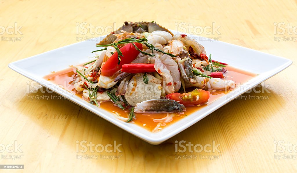 Green Papaya Salad (Som tum Thai) mixed stock photo