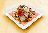 Green Papaya Salad (Som tum Thai) mixed with seafood
