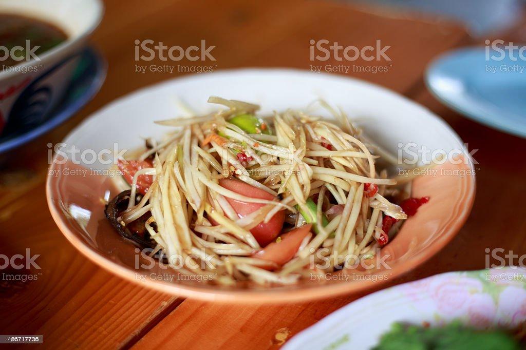 green papaya salad or somtum local food of Thailand stock photo
