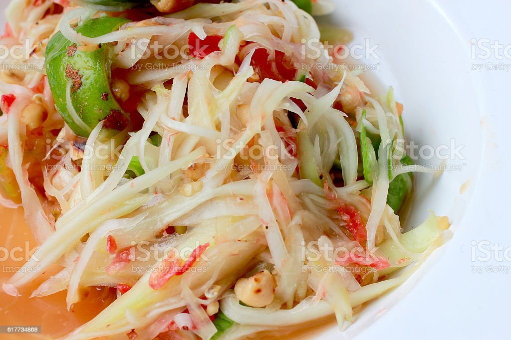 Green Papaya Salad (Som tum Thai) stock photo
