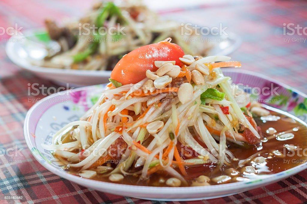 Green papaya salad. spicy thai food. stock photo