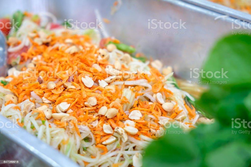 Green papaya salad Thai cuisine spicy delicious stock photo