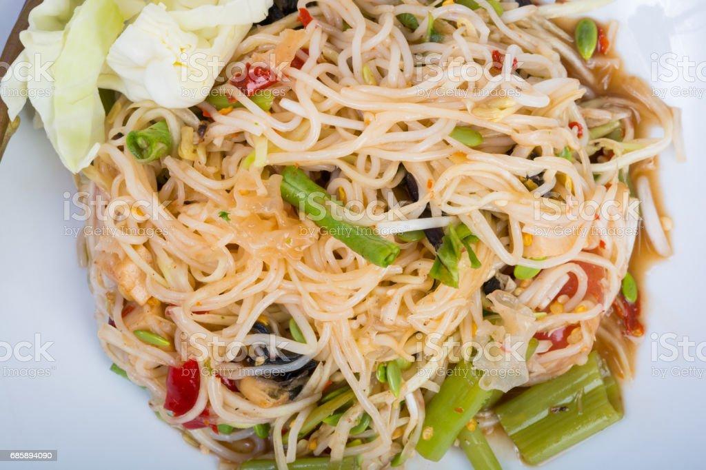 green papaya spicy salad Thai style stock photo