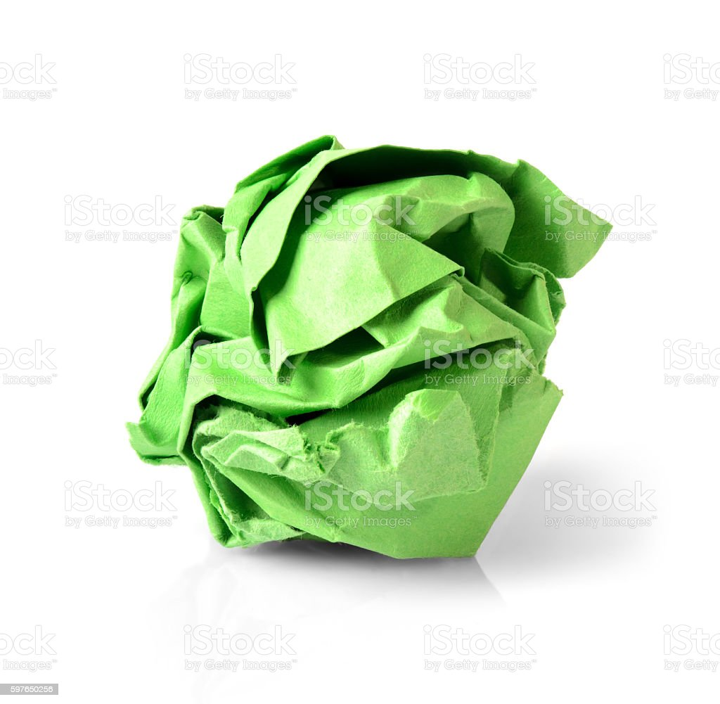 Green Paper Ball Isolated on White Background. stock photo