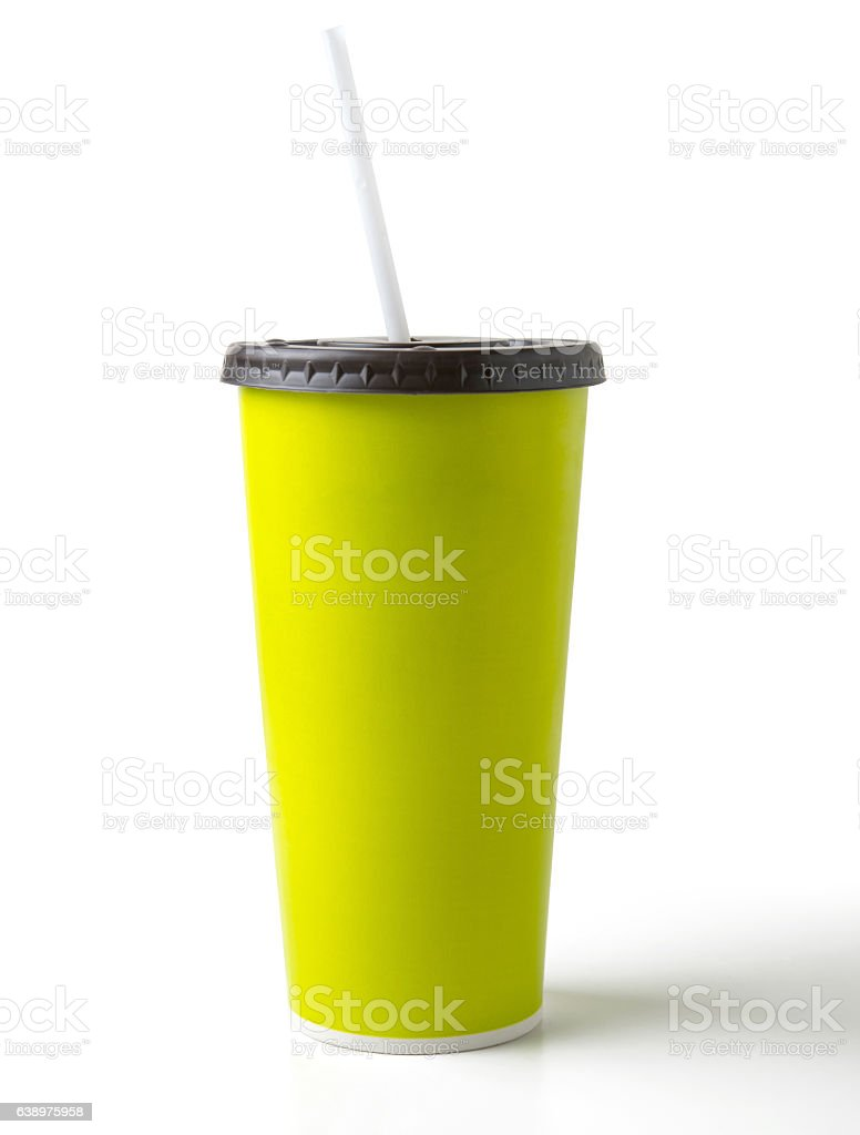 green paper cup and drinking straw stock photo