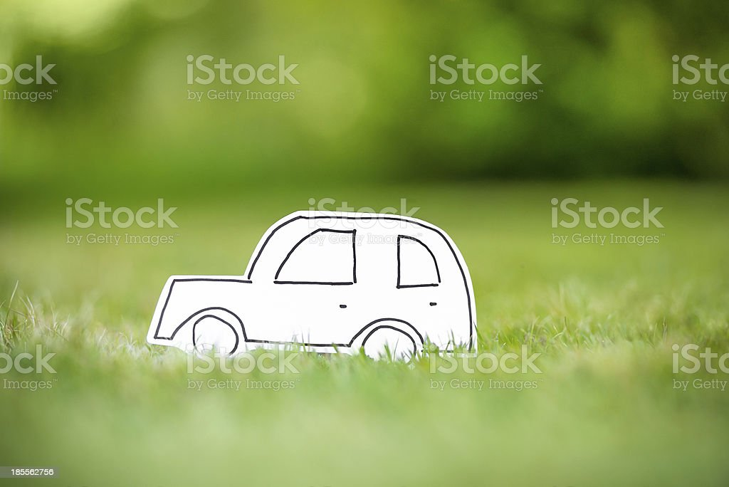 Green paper eco car royalty-free stock photo