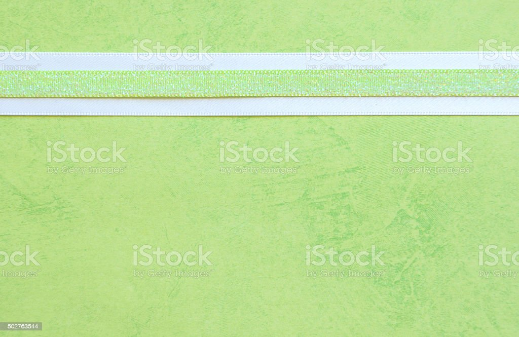 Green Paper with a Ribbon Border stock photo