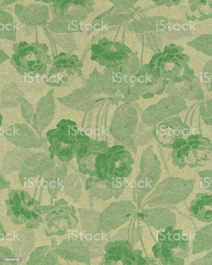 green paper with floral pattern stock photo