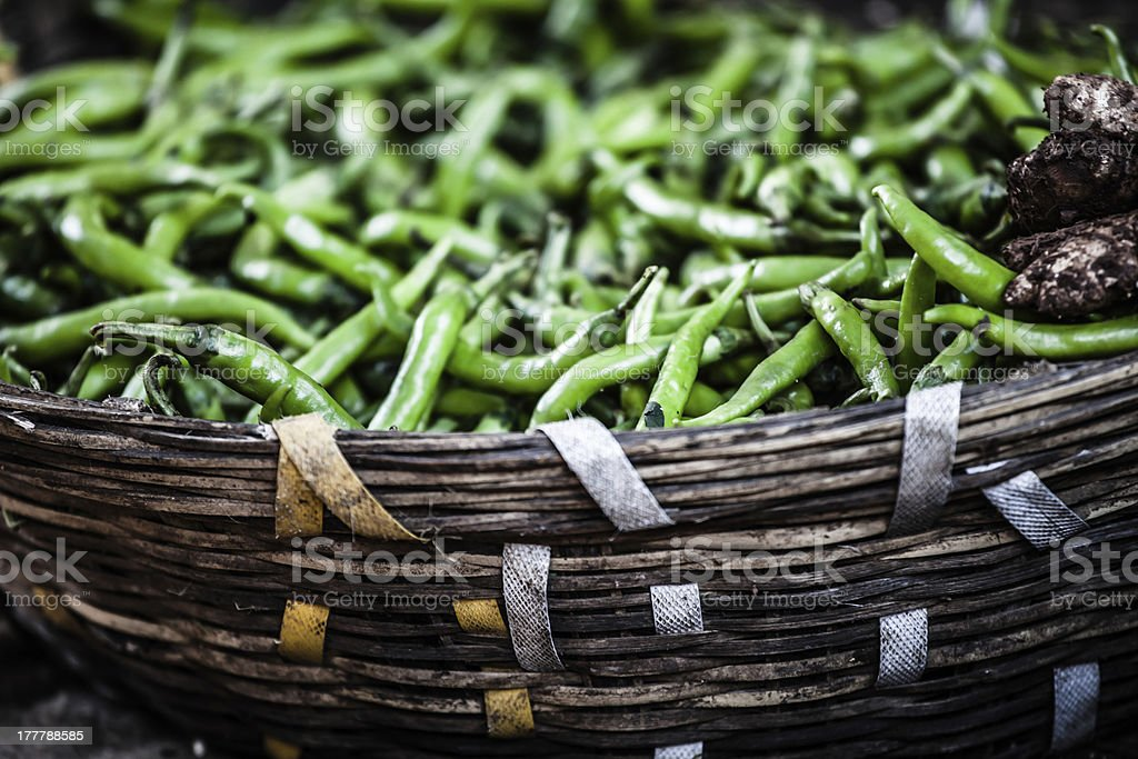 Green paprica in traditional vegetable market, India. royalty-free stock photo