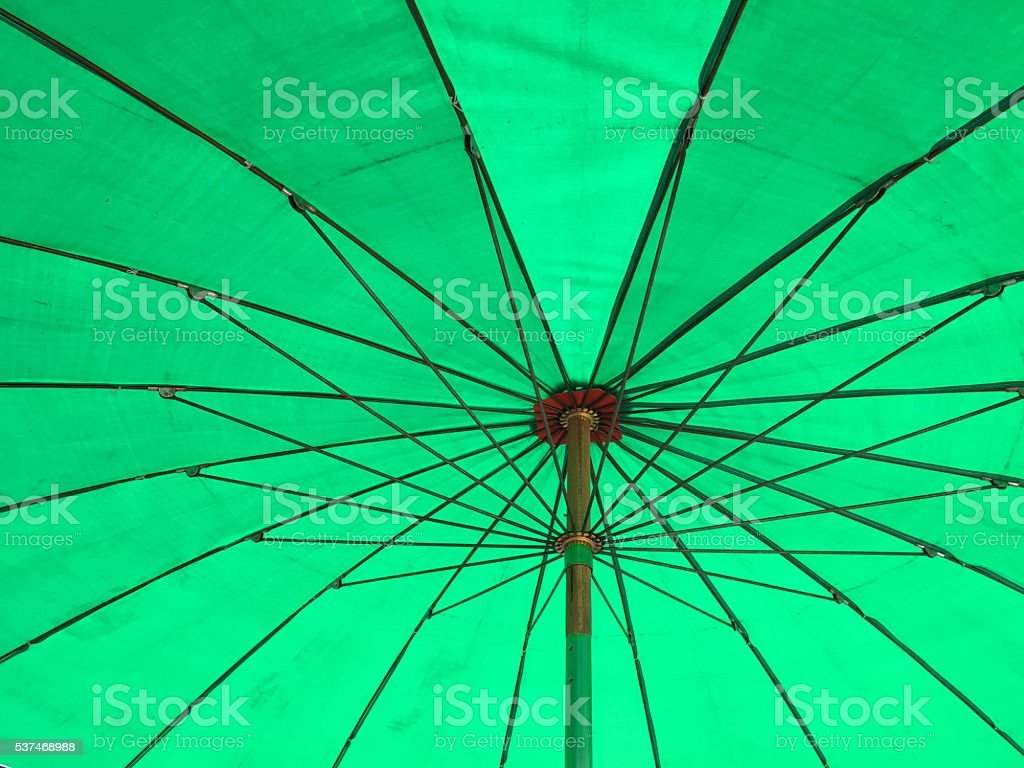 Green parasol stock photo