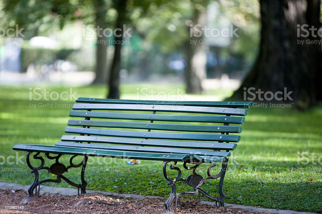 Green park bench under the sun by a grassy park stock photo