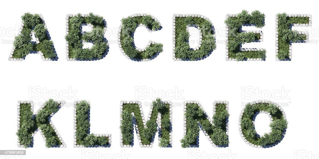 Green park font with grey cubing border stock photo